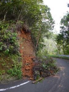 崩れた林道
